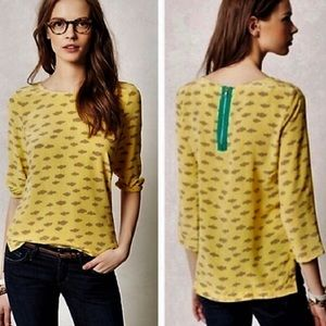 Anthropologie Maeve Linosa Silk Blouse Clouds XS